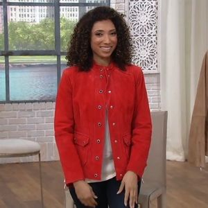 NEW! Isaac Mizrahi Suede Leather Jacket, Red